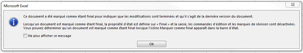 Notification marquer comme final - Excel Québec