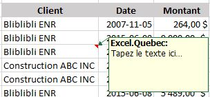 commentaire Excel
