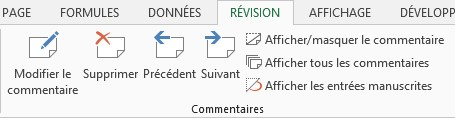navigation commentaires Excel