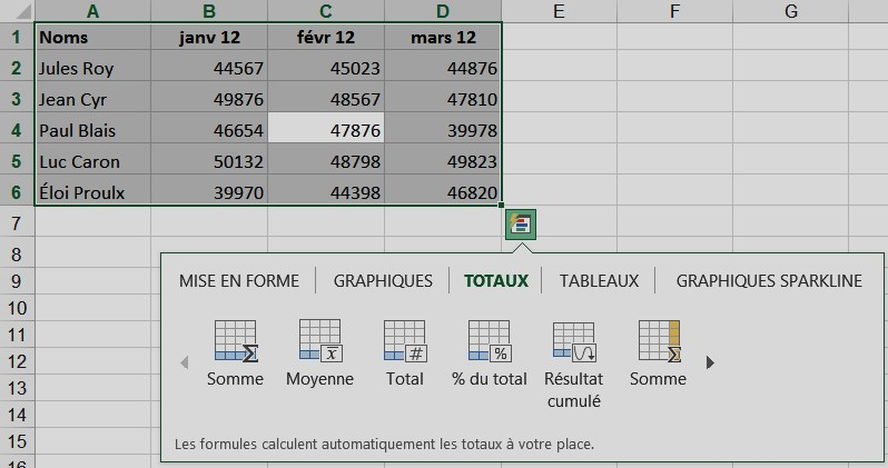L'analyse rapide Excel