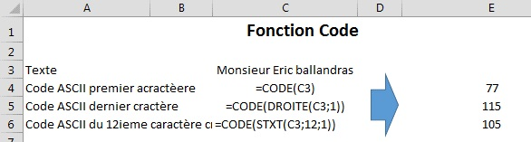 La Fonction Code De Excel Excel Quebec
