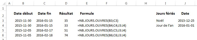 Fonction Excel NB.JOURS.OUVRES