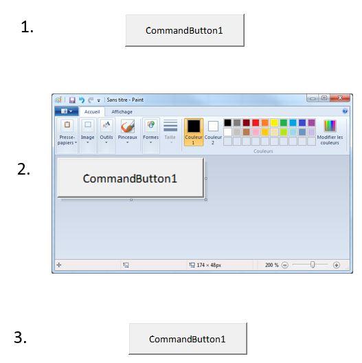 1. (en haut), un bouton ActiveX 2. (au milieu) le bouton copié dans Paint 3. (en bas) l'image du bouton ainsi obtenue